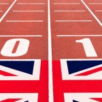 athletic track with 2012 and Union flag