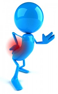 Blue cartoon man with back pain
