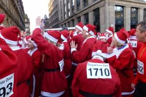 Santas warming up