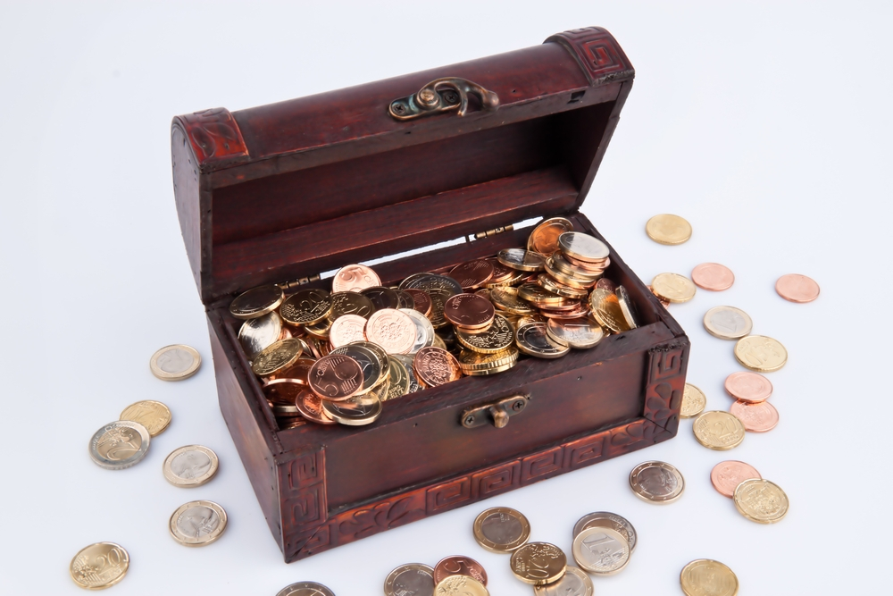 Chest containing money