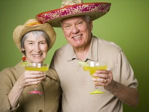 Senior couple drinking alcohol