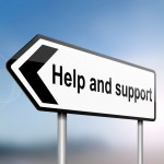 Signpost saying Help and support