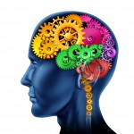 Brain with cogs going round