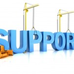 Word support with scaffolding and building equipment