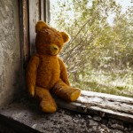 Teddy bear in war zone