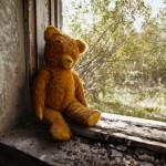 Teddy bear in war zone