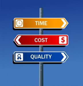 Signpost saying time, cost, and quality