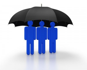 Cartoon of an umbrella covering three people