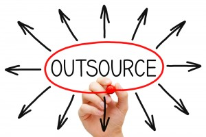 Word outsource with arrows all round