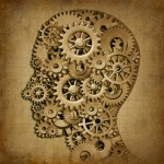 Shape of a head filled with cogs