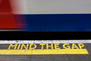 Mind the gap sign at underground station