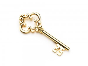 Shiny brass key