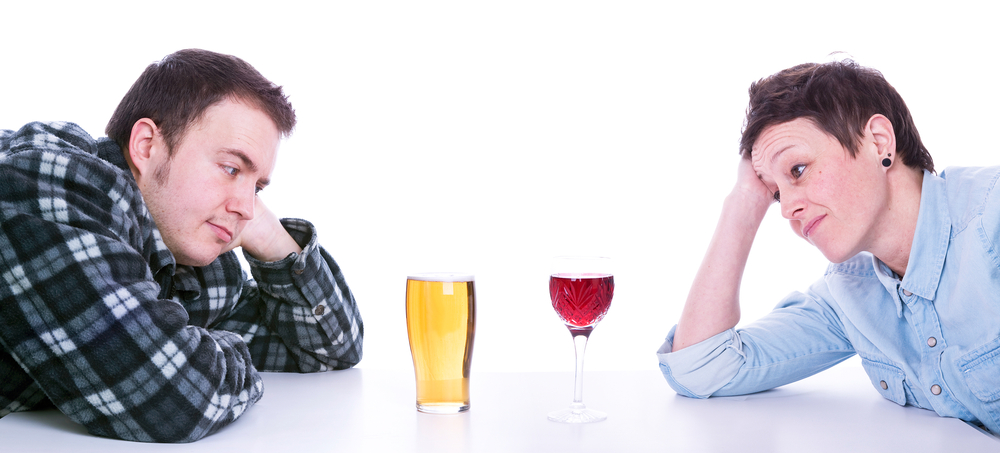 On average, the guided or unguided intervention group members drank about a pint of beer or glass of wine less per week