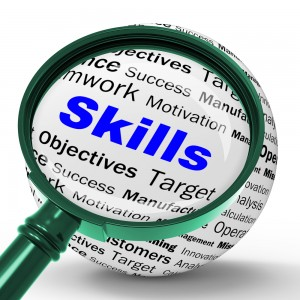 "The word ""skills"" magnified"