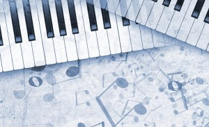 Keyboard and musical notes
