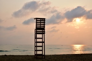 A lifeguard observation tower