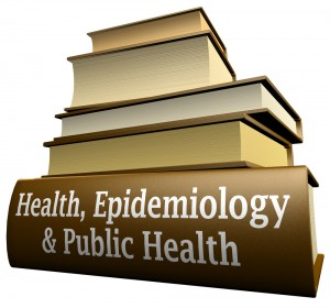 Pile of books, with the bottom one called Health, Epidemiology, & Public Health