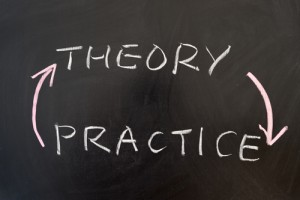 Blackboard with the words theory and practice on it