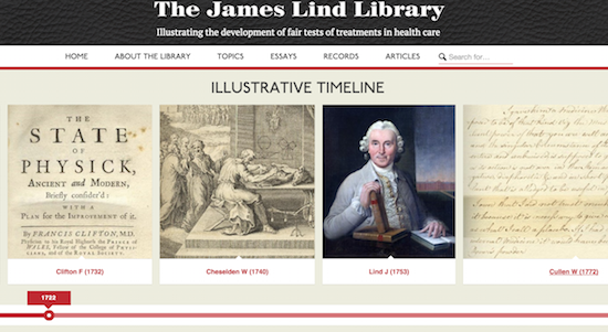 The James Lind Library timeline allows you to browse the history of fair tests of treatment.