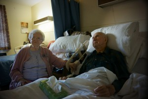 An elderly couple in hospital