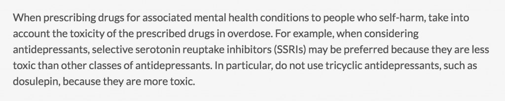 Greater adherence to the 2011 NICE CG133 'Do not do' recommendation against tricyclic antidepressant prescribing is required.