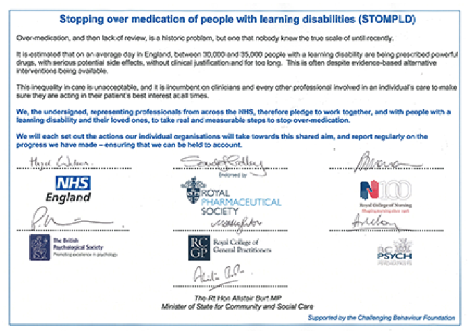 STOMPLD pledge was signed by the Royal Colleges of Nursing, Psychiatrists and GPs, as well as the Royal Pharmaceutical Society, the British Psychological Society and NHS England.