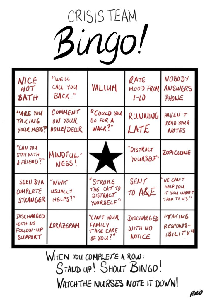 The Crisis Team Bingo Card by Rachel Rowan Olive.
