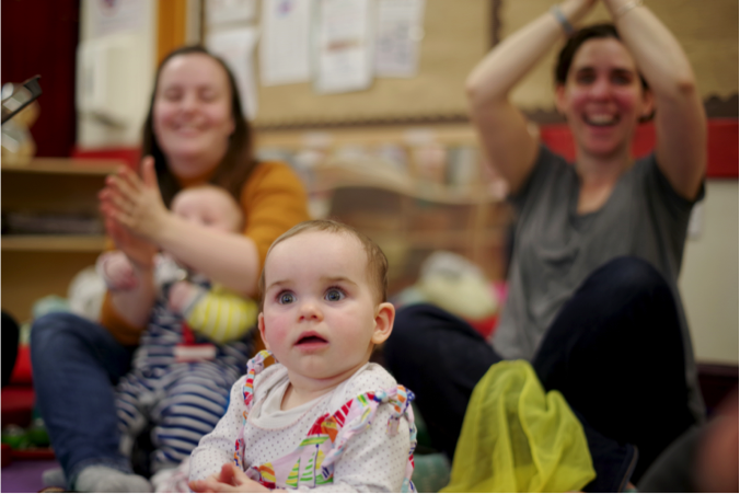 Singing workshops with mothers and their babies.