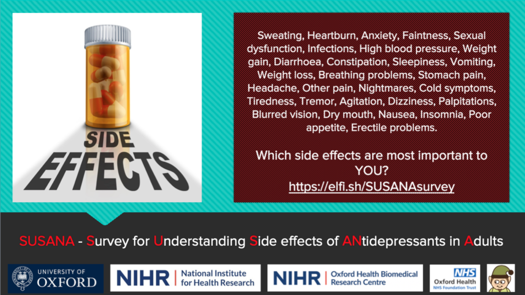 Which antidepressant side effects are most important to you? Please take the #SUSANAsurvey now.