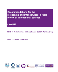Recommendations for re-opening dental services: a rapid review of international sources 13/05/2020
