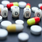 Mental Health Awareness concept for ADHD. letters spelling ADHD.