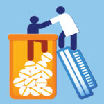 person being helped from pill bottle by healthcare provider - addiction recovery concept