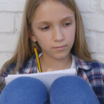 Student,Child,Writing,,Studying,,Thoughtful,Kid,,Pensive,Learning,Schoolgirl